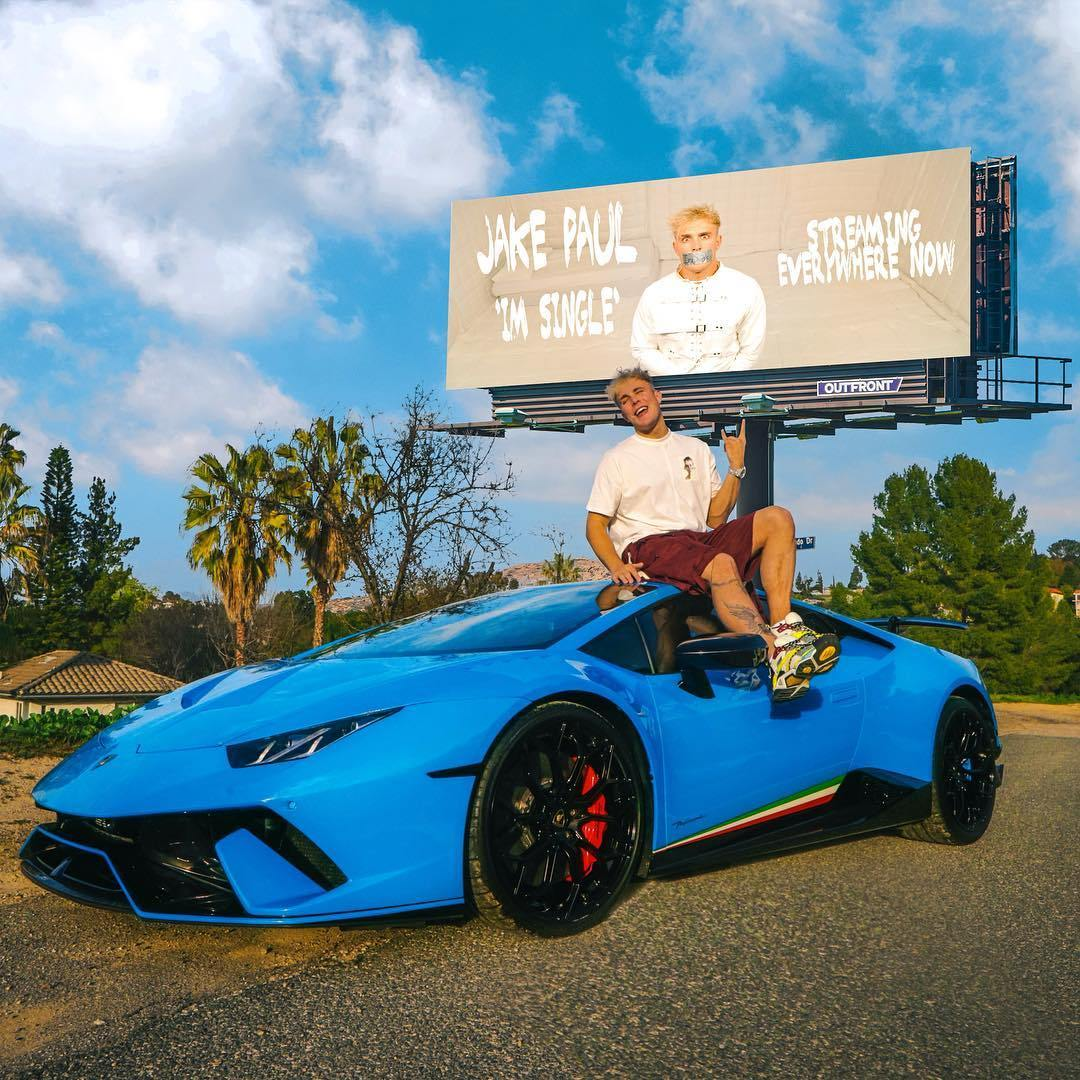 YouTuber Jake Paul also drives a Lamborghini