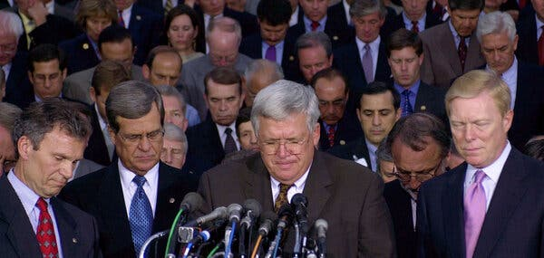 Senators from both parties, including Tom Daschle, left, prayed on the steps of the Capitol on Sept. 11, 2001.