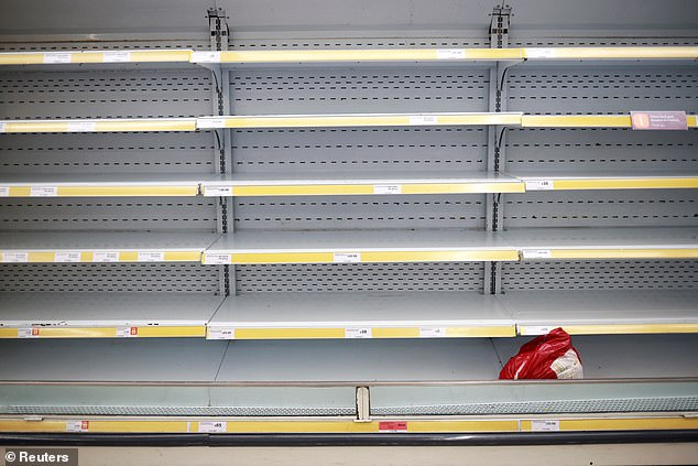 Supermarket food shortages at the start of the first lockdown was one reason for those with a history of eating disorders seeing symptoms re-emerge, or worsen, in past year (file photo)