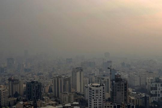 Air pollution blankets the skyline in Tehran, Iran
