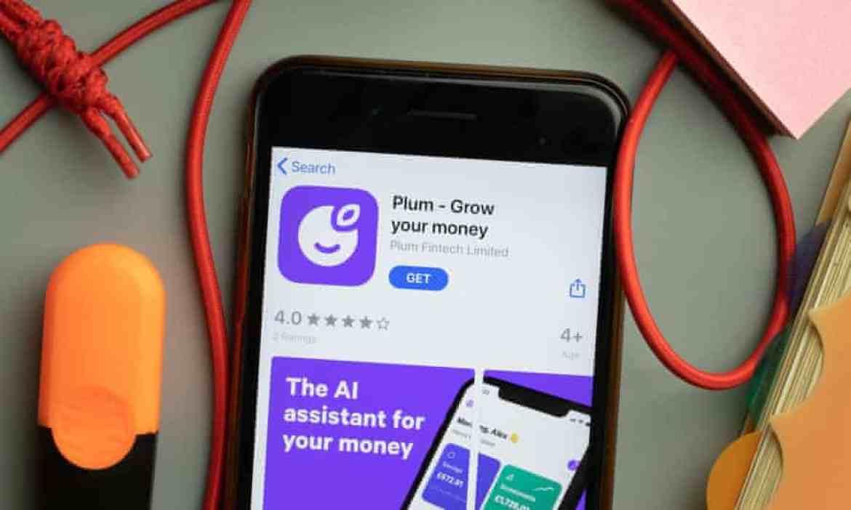 Plum grow your money app store logo on phone screen.