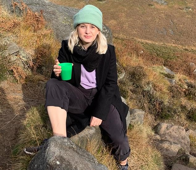 Fixations: Elle Pemberton, above, who became obsessed with online workouts and her stringent diet. 'I suddenly had more time to stare at the bits of my body I don't like', she says