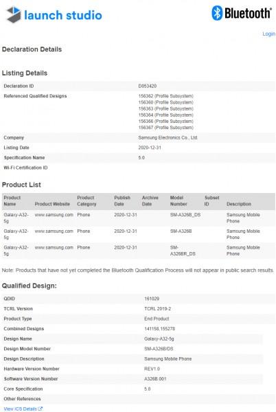 Galaxy A32 5G gets Bluetooth certified