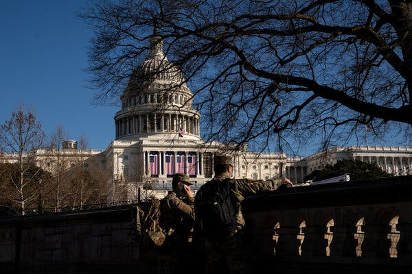 National Guard troops outside the Capitol on Tuesday as inauguration preparations continued in Washington.