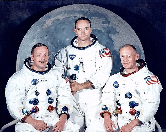 Giant leap: Astronauts Neil Armstrong, Michael Collins and Buzz Aldrin were the astronauts on the Apollo 11 mission to the moon
