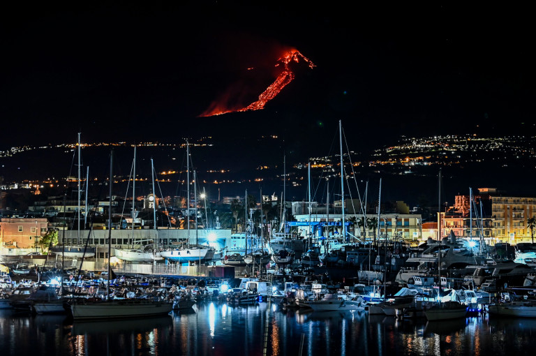 The Etna eruption seen with the port of Riposto in the province of Catania in the foreground. (Getty Images)