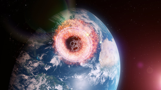 3D rendered illustration of an asteroid hitting Earth