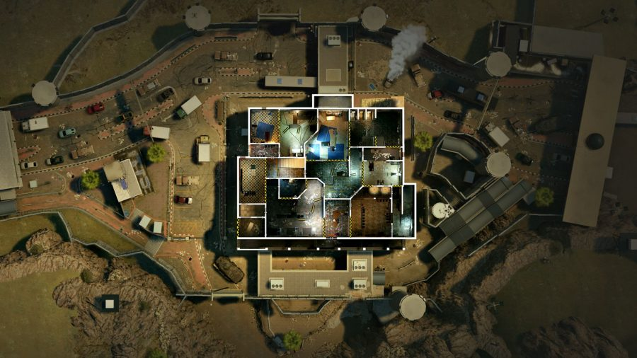 Top-down view of Rainbow Six Siege's border rework, showing the new ground floor layout