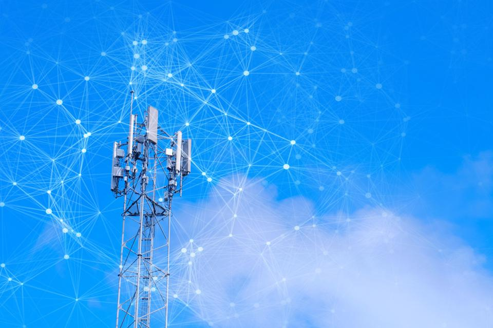 Telecommunication tower with mesh dots, glittering particles for wireless telecommunication technology