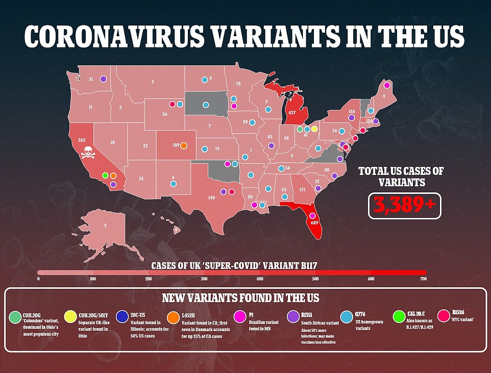 Some health officials are worried that U.S. could see another wave of cases due to more infectious variants of the virus, which have been found in every state except South Dakota (above)