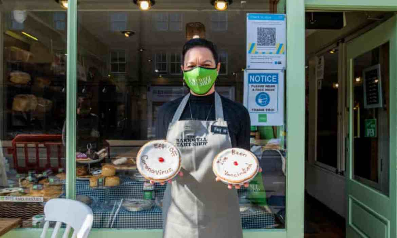 Fay Kirk outside her shop with her coronavirus bakewell tarts