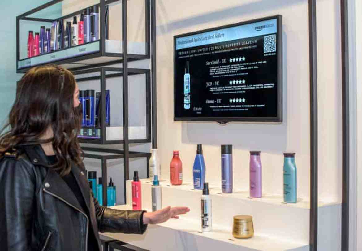 Customers can peruse beauty products on screen.