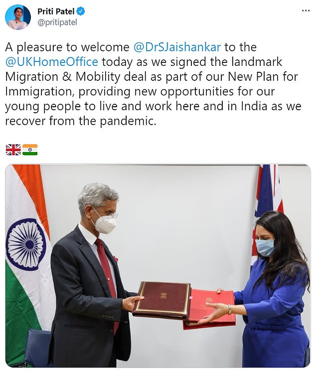 Priti Patel met the Indian foreign minister Subrahmanyam Jaishankar at the Home Office yesterday, but he is not believed to be one of the positive cases