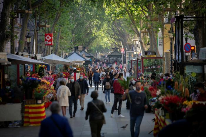 Las Ramblas last month: as they come out of lockdown, residents are starting to enjoy Barcelona again