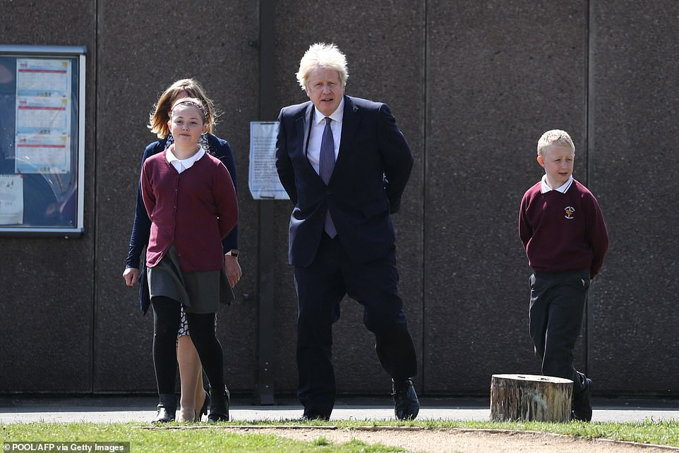 Boris Johnson (pictured visiting a primary school in County Durham on Thursday) admitted he was 'anxious' about the Indian variant spreading rapidly in the UK and warned the Government would 'rule nothing out' in its effort to contain it