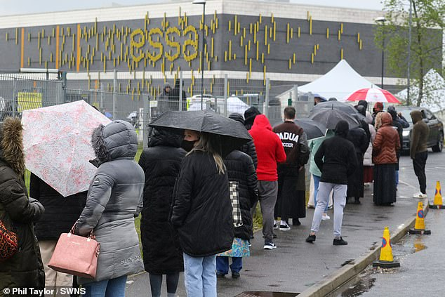 Thousands of people queued on the streets of Bolton on Saturday after it emerged there were 4,000 available vaccines that 'must be used today'