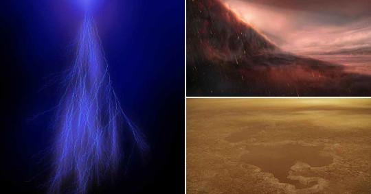 Acid rain, lightning on Jupiter and Methane lakes