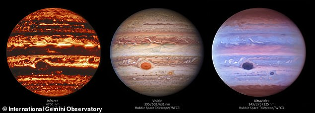 Three images of Jupiter show the gas giant in three different types of light 'infrared, visible, and ultraviolet'