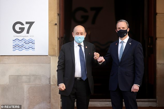 Dominic Raab (pictured with French counterpart Jean-Yves Le Drian today) has tried to shrug off the Indian delegation to the G7 foreign ministers' summit in London