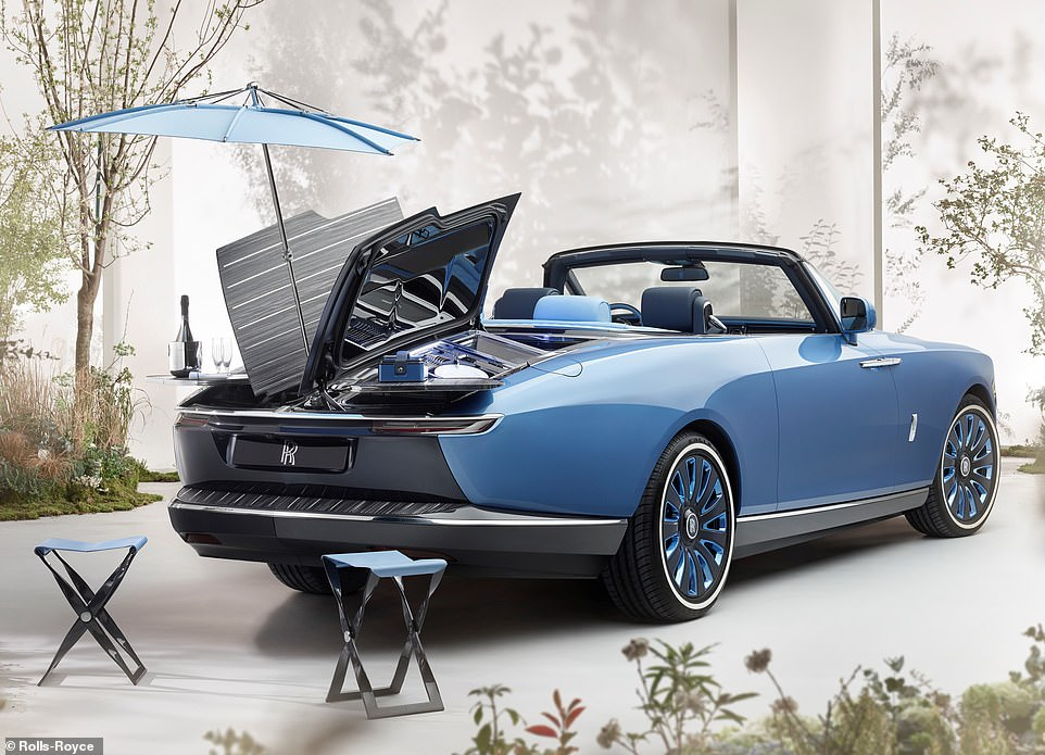 World's most expensive car - and picnic set: This is the ultra-exclusive Rolls-Royce Boat Tail - one of three supremely luxurious bespoke models costing £20million each