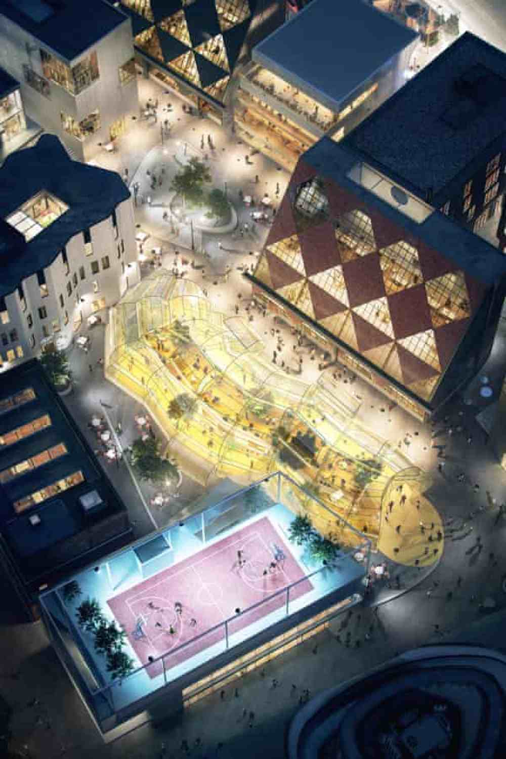 a CGI impression showing Architecture 00's rooftop basketball court.