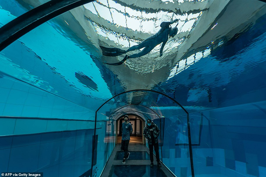 The world's deepest swimming pool Deepspot opened in Mszczonow, Poland, in November 2020. It has a depth of 148 feet (45 metres)