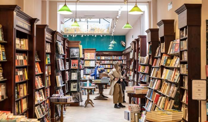 The interior of James Daunt's bright, sunny bookshop in Marylebone, London
