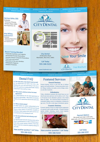 Free Sample Dentist And Dental Brochures Template