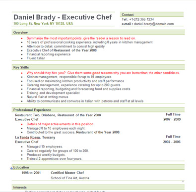 free sample executive chef resume template - Professional Chef Resume