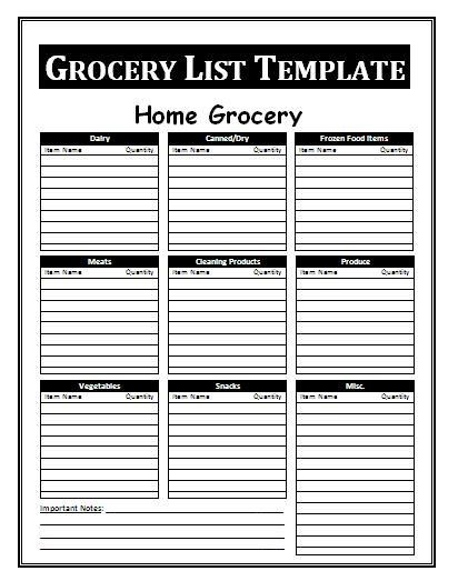 Grocery List Template  Grocery List Templates