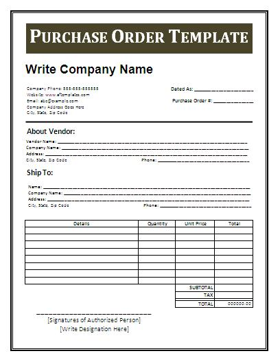 template for a purchase order