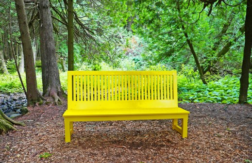 All Things Lovely at the Terre Bleu Lavender Farm Yellow Bench