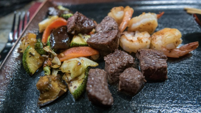 Experience the All-Inclusive Resort at Hyatt Ziva Cancun Moongate teppanyaki dinner steak and shrimp