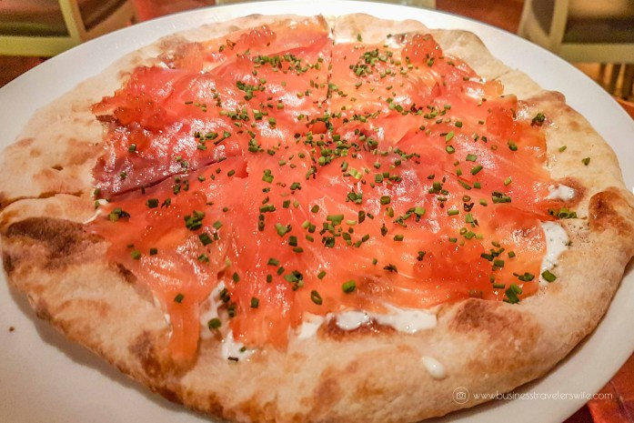 Las Vegas Travel Hack Using myVEGAS Rewards and Hotel Comps Wolfgang Puck Bar & Grill House Smoked Salmon Pizza with dill crème fraiche and caviar 2
