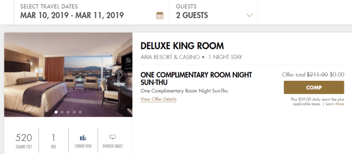Las Vegas Travel Hack Using myVEGAS Rewards and Hotel Comps mlife aria resort & casino hotel complimentary room night (2)