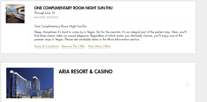 Las Vegas Travel Hack Using myVEGAS Rewards and Hotel Comps mlife aria resort & casino hotel complimentary room night