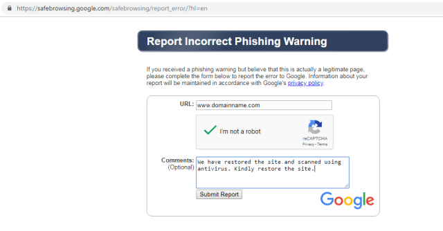 remove incorrect phishing warning