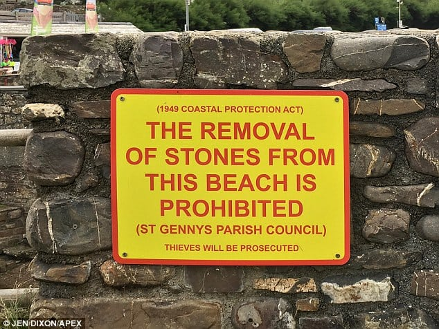 The case emerged after complaints that beach visitors are being 'aggressively' threatened with prosecution for taking stones home from Crackington Haven.