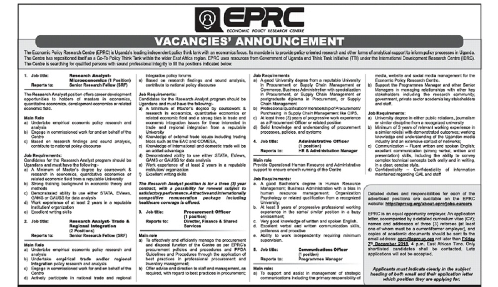 Economic Policy Research Centre needs Workers