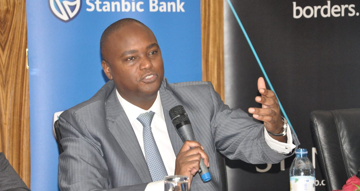 Mr Patrick Mweheire teh Chief Executive Stanbic Bank addressing the media during the launch of the wealth proposition