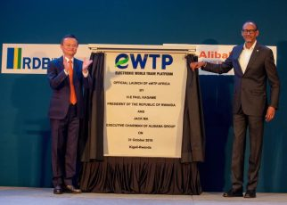 Paul Kagame, President of Rwanda and Jack Ma, Alibaba Group, Executive Chairman during the official launch of the Electronic World Trade Platform in Kigali
