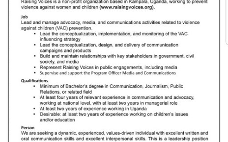 JOB OPPORTUNITY: Program Manager needed at Raising Voices