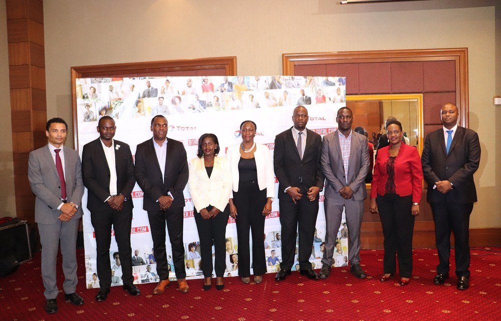 Mr. Obi IMEMBA, Total Uganda Managing Director (3rd L), Mr. Nathan Morgan, Business & Development Director (L) Total (E&P) Uganda, Mr. Patrick Mweheire, the Jury Ambassador (R), posing for a photo with other jury members. This was during the unveiling of the unveiling of the 15 finalists of the 2nd edition of the StartUpper of the Year Challenge by Total at Sheraton Hotel Kampala, 30th January 2019.