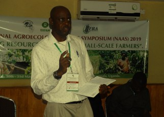 Hakim Baliraine, the ESAFF Uganda chairperson, making presentation during the symposium