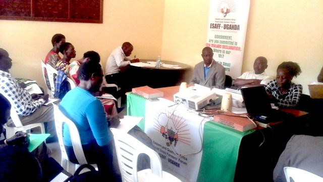 The Farmers' Budget Dialogue that was organized by the Eastern and Southern Africa Small Farmers Forum( EASFF ) Uganda chapter an organization that brings together small holder farmers in Uganda.