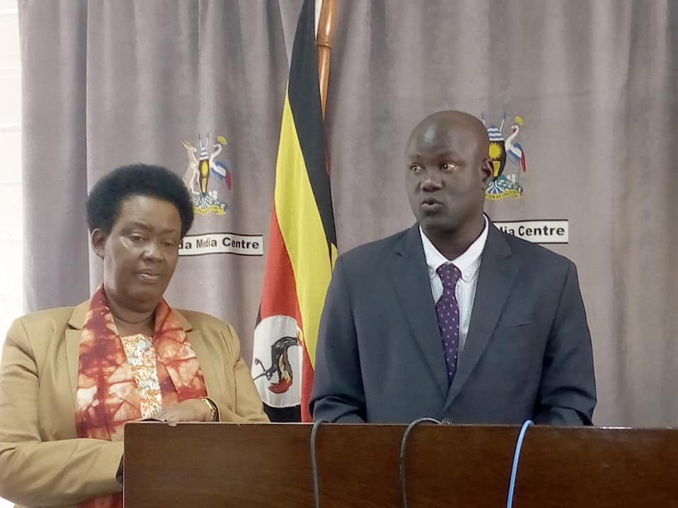 Minister Kabatsi on( left) and Dr Lagu at the Media Center in Kampala on Tuesday