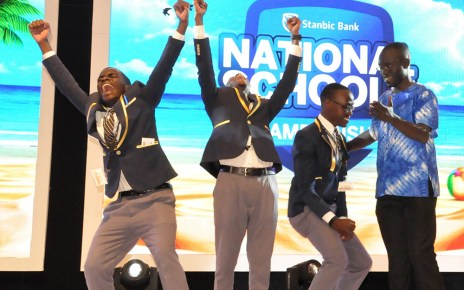Students of Holy Cross Lake View SS celebrate after emerging winners of the 4th edition of the National Schools championship2019