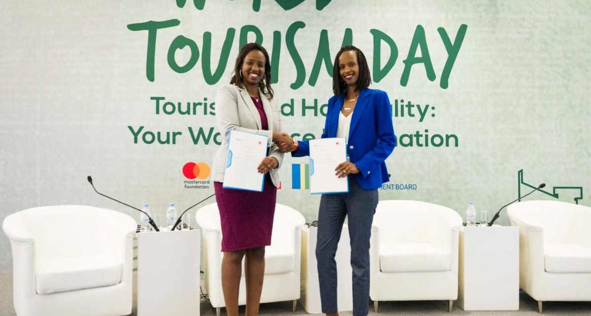 Rica Rwigamba, Senior Program Manager and Acting Country Representative, Rwanda of the Mastercard Foundation and Belise Kariza, Chief Tourism Officer, of the Rwanda Development Board announce strategic partnership within the Mastercard Foundation Hanga Ahazaza initiative.