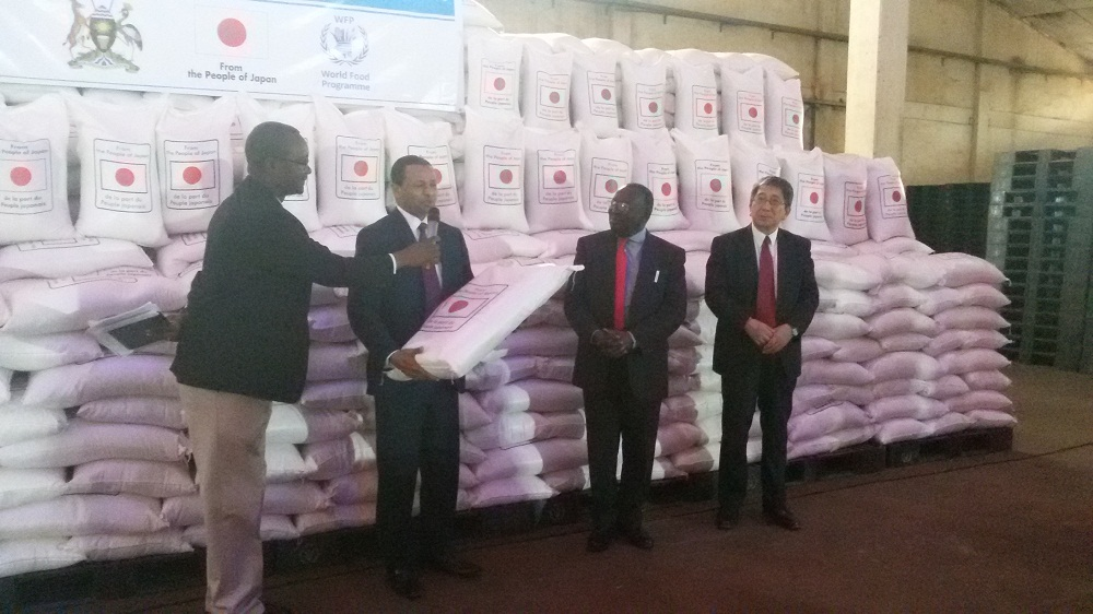 Japan's Ambassador to Uganda, H.E Kazuaki Kameda has handed over 4,758 metric tons of rice for distribution to refugees and socially vulnerable people including those in communities hosting refugees.