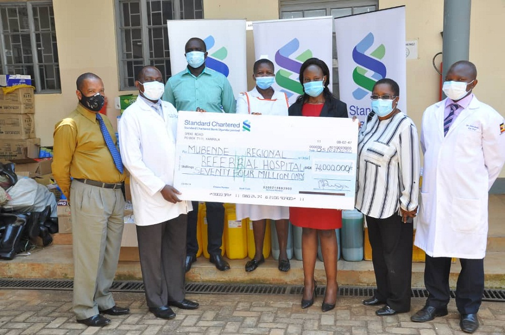 StanChart donates COVID 19 PPEs to Mubende Frontline Workers